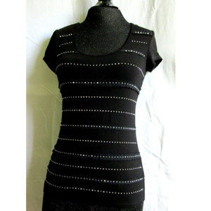 Black Top Rhinestone Party Formal Top Scoop Neck